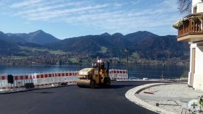 Asphaltierungsarbeit am Tegernsee